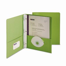"Two-Pocket Portfolio, Tang Clip, Letter, 1/2"" Capacity, Green, 25 per Box"
