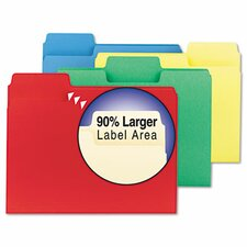SuperTab Colored File Folders, 1/3 Cut, 11 Point Stock, Letter, Assorted, 100/Bo