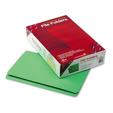 Straight Cut File Folders, Reinforced Top Tab, Legal, 100/Box