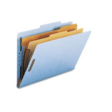 Pressboard Classification Folders, Legal, 6-Section, Blue, 10/box