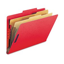 <strong>Smead Manufacturing Company</strong> Pressboard Classification Folders, Legal, 6-Section, Bright Red, 10/box
