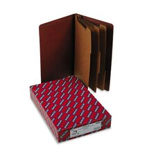 Pressboard End Tab Classification Folders, Legal, 8-Section, Red, 10/box