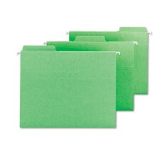 FasTab Hanging File Folders, Letter, Green, 18/Box