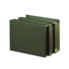"3"" Capacity Box Bottom Hanging File Folders, Letter, Green, 25/Box"