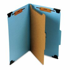 Four-Section Hanging Classification Folder, Pressboard/Kraft, Legal, Blue