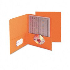 Two-Pocket Portfolio, Embossed Leather Grain Paper, 100-Sheet Capacity, Orange