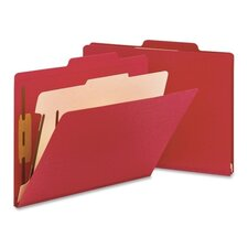 One Divider Top Tab Classification Folder, Four-Section, 10/Box