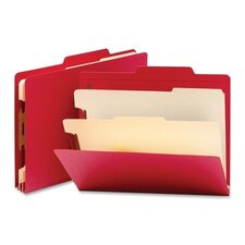Two Dividers Classification Top Tab Folders, Six-Section, 10/Box