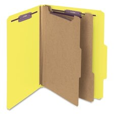 Six-Section Pressboard Classification Folders, Letter, 10/Box