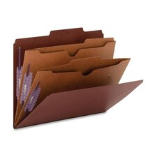 Six-Section Pressboard Classification Folders with Two Pocket Dividers, 10/Box