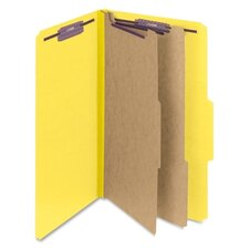 Six-Section Pressboard Classification Folders, Legal, 10/Box