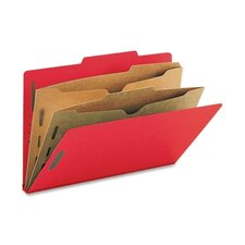 Six-Section Pressboard Classification Folders, Two Pocket Dividers, Legal, 10/Box
