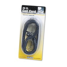 Coiled Phone Cord, Plug/Plug, 25 Ft.