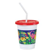 Plastic Kids' Cups with Lids/Straws in Jungle Print