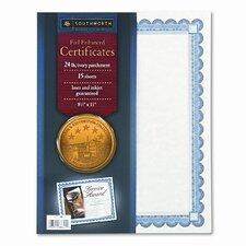 Foil-Enhanced Certificates, 8-1/2 x 11, Silver Border, 15 per Pack