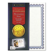 Foil-Enhanced Certificates, 8-1/2 x 11, Silver Border, 15 per Pack