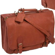 Deluxe Top-Grain Buckle Close Leather Briefcase