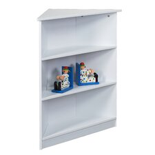"36"" H Corner Three Tier Bookcase with Top Shelf in White"