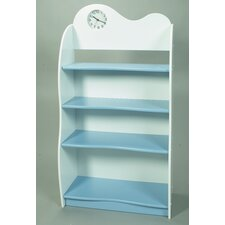 "47"" H Four Tier Bookcase with Clock in Blue and White"