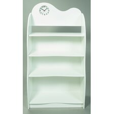 "47"" H Four Tier Bookcase with Clock in White"