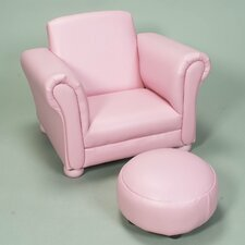 <strong>Gift Mark</strong> Upholstered Children's Chair and Ottoman Set