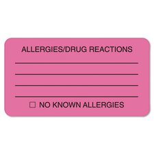 Allergies/Drug Reaction Labels, 3-1/4 x 1-3/4, Fluor Pink, 250 per Roll