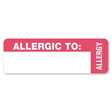 Medical Labels for Allergy Warnings, 3 x 1, White, 175/Roll