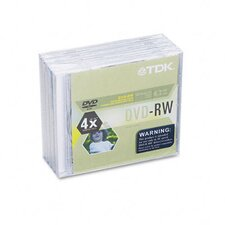DVD-Rw Discs 4.7Gb 4X with Jewel Cases, 5/Pack