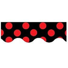 Red Polka Dots On Black Border Trim