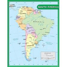 South America Map Chart 17x22
