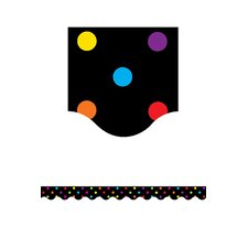 Black/multicolor Dots Scalloped
