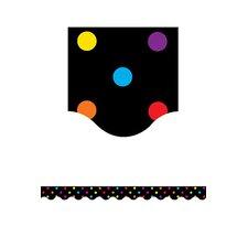 Black/multicolor Dots Scalloped