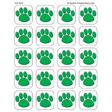 Green Paw Print Stickers