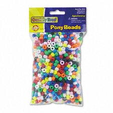 Plastic Pony Beads, 1000/Pack
