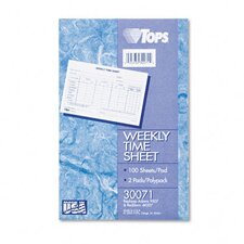 Weekly Time Sheets, 100/Pad, 2/Pack