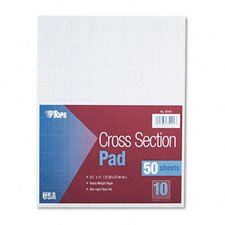 Section Pads with 10 Squares, Quadrille Rule, Letter, 50 Sheets/Pad
