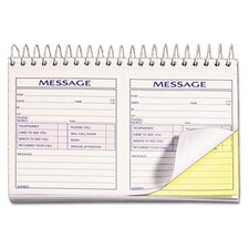 Spiralbound Message Book, Carbonless Duplicate, 200 Sets/Book