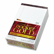 Docket Gold Ruled Perforated Pad, Legal Rule/Size We, 12 50-Sheet Pads/Pack