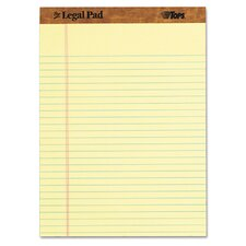 "<strong>Tops Business Forms</strong> The Legal Pad Ruled Perforated Pads, 8-1/2"" x 11-3/4"", Canary, 50 Sheets"