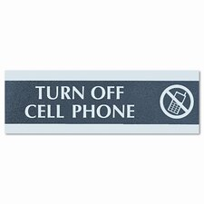 "Century Series ""Cell Phones Must Be Turned Off"" Sign, 9 x 1/2 x 3, Black/Silver"