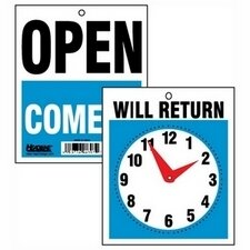 Business Sign on Chain, Open/Closed Will Return w/Digital Clock, Plastic, 11 x 8