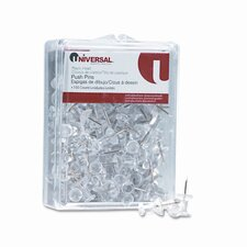 "<strong>Universal®</strong> Plastic Head Push Pins, Steel 3/8"" Point, Clear, 100 per Pack"