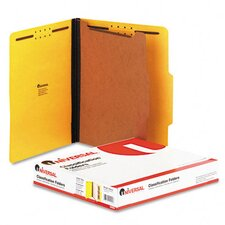 Pressboard Classification Folder, Letter, Four-Section, 10/Box