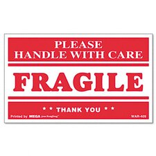 <strong>Universal®</strong> Fragile Handle with Care Self-Adhesive Shipping Labels, 500/Roll