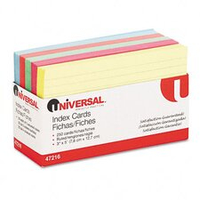 Index Cards, 3 x 5, Blue/Salmon/Green/Cherry/Canary, 250 per Pack