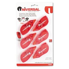 Correction Tape with Two-Way Dispenser, 6/Pack