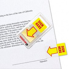 """Sign Here"" Arrow Page Flags, 2 Dispensers of 50 Flags/Pack"