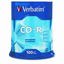 <strong>Verbatim Corporation</strong> Spindle Cd-R Discs, 700Mb/80Min, 52X, Spindle, 100/Pack