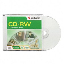 CD-RW Discs, 700MB/80min, 2x-4x, Slim Jewel Cases, Matte Silver, 10/Pack
