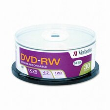 <strong>Verbatim Corporation</strong> DVD-RW Discs, 4.7GB, 2x, Spindle, 30/Pack